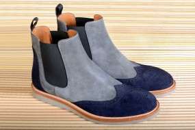 GREY & NAVY BLUE SUEDE